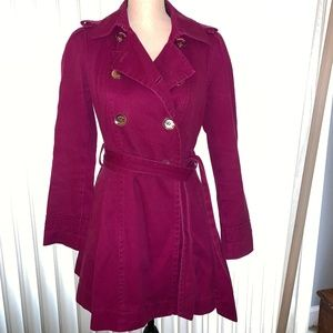 Express Double Breasted Fuchsia Trench Coat